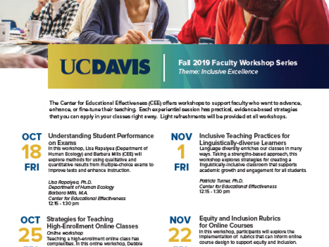 Fall 2019 Faculty Workshops Flyer